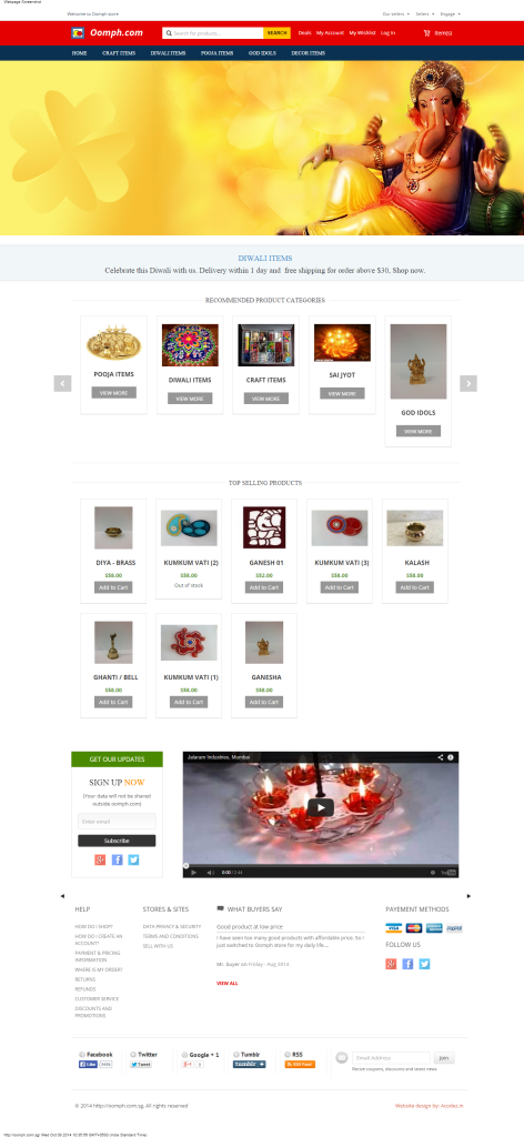 Oomph store - Magento E-commerce Website Example