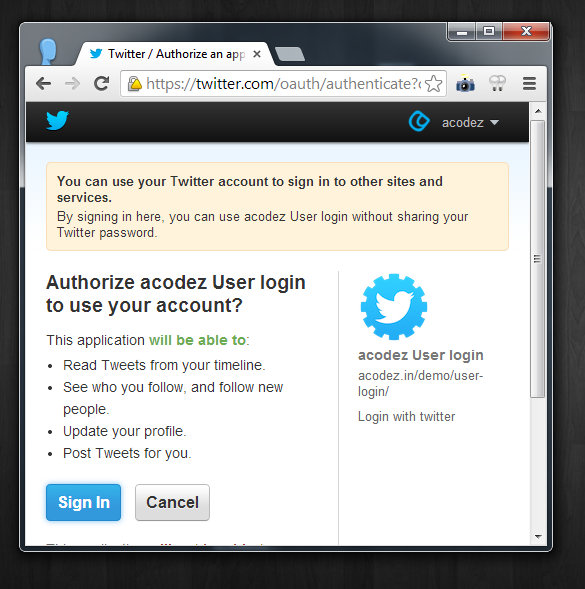 Sign in with Twitter, How to implement Sign in with Twitter, implementing Sign in with Twitter, Twitter redirection on Sign in with Twitter