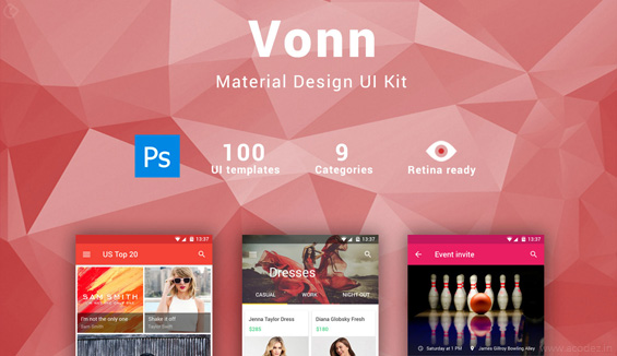 ui ux design tools- Vonn-Mobile-Material-Design-UI-kit