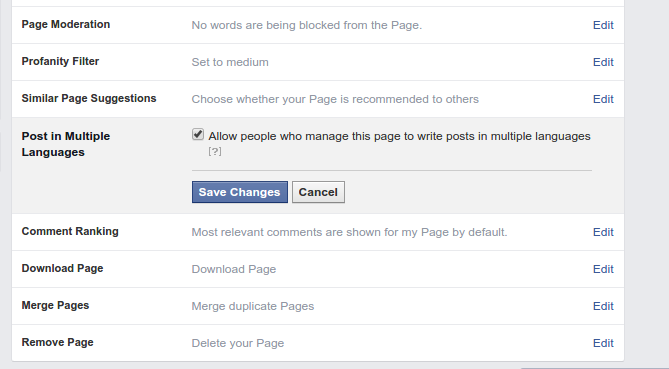 How to enable multi-language posts in Facebook Pages